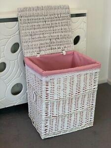 White Wicker Basket Home Decor Storage Basket Pink Lining Bedroom Bathroom