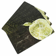 Hardboard Cork Backed Heat & Stain Resistant Placemats Apple Damask - 4 Pack