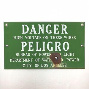 Vtg DANGER High Voltage PELIGRO Metal Warning Sign BULLET Hole LOS ANGELES LADWP