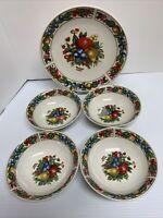 Vintage~TABLETOPS UNLIMITED EDEN FRUIT 4 Soup Cereal Bowls 1 Dinner Plate R1/22
