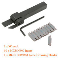 12Pc MGMN300 Insert Blade+MGEHR1212-3 Lathe Cut-Off Grooving Parting Tool Holder
