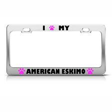 American Eskimo Paw Love Pet Dog Metal License Plate Frame Tag Holder