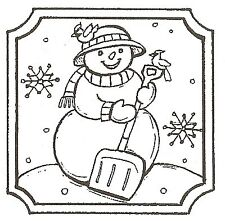 CHRISTMAS SNOWMAN SHOVEL SQ Wood Mounted Rubber Stamp NORTHWOODS C10119 New