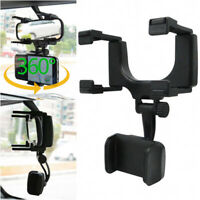 New Universal Car Rearview Mirror Mount Stand Holder Cradle For Cell Phone GlyJC