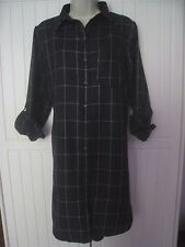 Atmosphere Womens Size 12 Long Shirt Tunic Dress Navy Blue White Check VGC