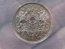 Choice AU 1924 Silver 1 LATS. LATVIA.  ANACS AU58.  Luster!