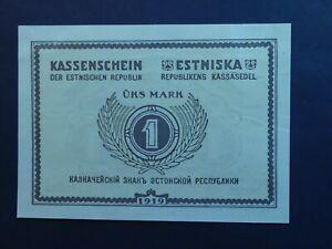 RARE: ESTONIA: 1 MARK, 1919, P43a