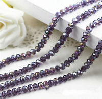70pcs New Faceted Jewelry Multicolor 4x6mm Crystal AB Purple BeadY