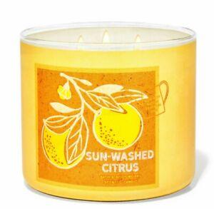 SUN-WASHED CITRUS LG CANDLE 14.5oz  3 wick Bath & Body Works White Barn Ess oils