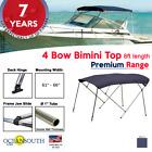 4 Bow Bimini Top Premium Range 61 - 66 Width 8ft Long Blue With Rear Poles