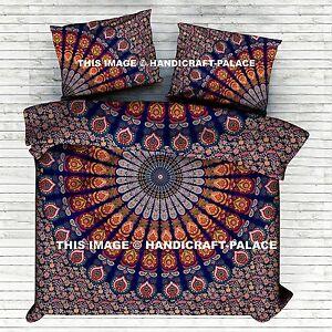 Indien Paon Mandala Bleu Housse de Couette Housse Literie Couverture Set
