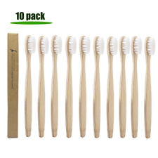 10PCS Bamboo Toothbrush White Soft Bristle Dental Oral Care Eco Friendly Hygiene