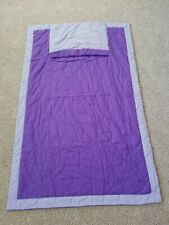 """Homemade - Quilted Patchwork Blanket w/Pillow Pocket - 48"""" X 72"""" Purple & White"""