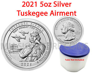 2021 5oz .999 Silver Tuskegee Airmen ATB Brilliant Uncirculated - LIVE - IN HAND