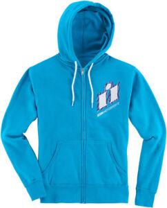 Icon Motosports Women's WILD CHILD Zip-Up Hoody Sweatshirt (Blue) Choose Size