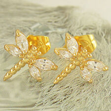 Child Girls Gold filled safety Cute stud earrings Dragonfly crystal earings
