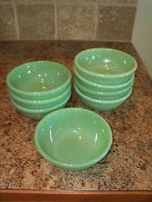 8 Vintage Fire King Jadite/Jadeite 15oz Restaurant Ware Rolled Rim Bowls G300