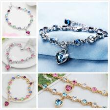Women Love Heart Pendant Crystal Bling Bling Bracelet Bangle