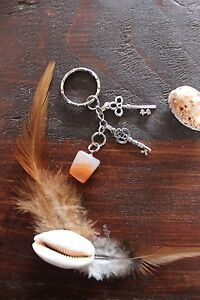 Lovely Handmade Red White & Clear Smokey Stone & Silver Rustic Key Charm Keyring