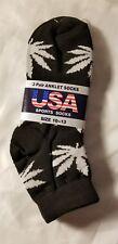 Ankle Socks Marijuana Leaf Pot Athletic New USA Sport NIP Footwear Black White