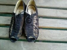 Vintage Black Suede and Fluer Mesh Ladies Shoes - Size 7.5