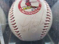LOU BROCK HoF Signed Autographed BASEBALL - St. Louis Cardinals - Cardinal Logo