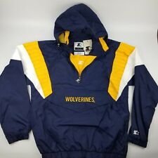 Michigan Wolverines Starter Jacket Half Zip Pullover Hooded Windbreaker