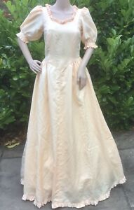 Vintage Bridesmaid Dress 80's Peach Ruffle Puff Sleeves Victorian Hen Party S