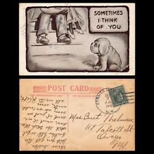VTG POSTCARD PUPPY DOG MISSES GIRLFRIEND SEXY LADY MAN KISSING HUMOR COMIC B36