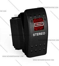 Labeled boat Marine Contura II Rocker Switch Carling lighted, Stereo (RED Lens)