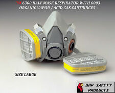 3M 6300 HALF MASK RESPIRATOR W/ ORGANIC VAPOR / ACID GAS CARTRIDGES LARGE 6003