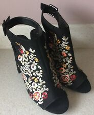 NEW LOOK BLACK SUEDE FLORAL SLINGBANK SHOES - SIZE 8 (see Description) - BNWT