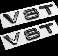2 x Black V8T Glossy Car Styling Fender Badge Sticker Emblem For All Audi Models
