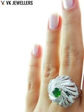 TURKISH JEWELRY UNIQUE WHITE GOLD PLATED 925 STERLING EMERALD RING SIZE 8 R2077