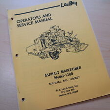 Leeboy Model 1200 Maintainer Owner Operator Operation Shop Service Manual Book