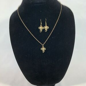 Handcrafted Oxidized Brass Elephant Charm Necklace and Earring Set
