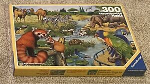 RARE VINTAGE NEW SEALED Ravensburger Puzzle Safari Animals Zebras Rhino FREE S&H