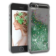Für Apple iPhone 5 5S SE Glitzer Hülle Flüssig Silikon Case Handy Cover Grün
