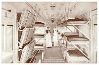 Antique WW1 military printed postcard Ward Car Continental Ambulance Train