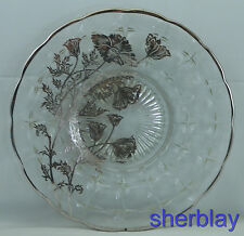 "SILVER CITY Glass FLANDERS SANDWICH PLATE Tray PLATTER 10 7/8"" Sterling Overlay"