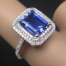 SOLID 14K WHITE GOLD NATURAL STUNNING BLUE TANZANITE DIAMOND WEDDING RING