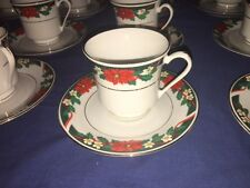 Tienshan China Deck The Halls ~ Cups & Saucers (12 Sets) ~ Excellent