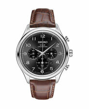 Seiko Men's Solar Chronograph Brown Leather Strap Black Dial Watch SSC565
