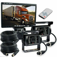 "2 x Reversing Camera + 7"" LCD Monitor Car Rear View Kit For Bus Truck 12V/24V UK"