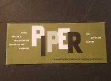 Rare 1961 Piper Airplane Plane sales brochure catalog and Price & Equipment List