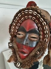 African wood Dan Deangle mask. Elaborate Headdress. Colourful and fine example.