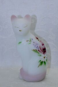 """Fenton, Cat, White Sanded Glass, """"Lilacs and Roses"""", Hand Decorated."""