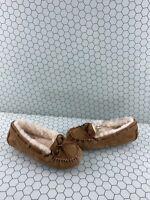 UGG 'DAKOTA' Chestnut Suede Fur Lined Slip On Moccasin Slippers Women's Size 7