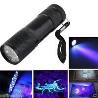 Black Mini Aluminum UV ULTRA VIOLET Torch 12LED FLASHLIGHT BLACKLIGHT Light Lamp