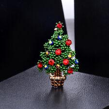 Vintage Rhinestone Christmas Tree Enamel Brooch Pin Women Xmas Costume Jewelry